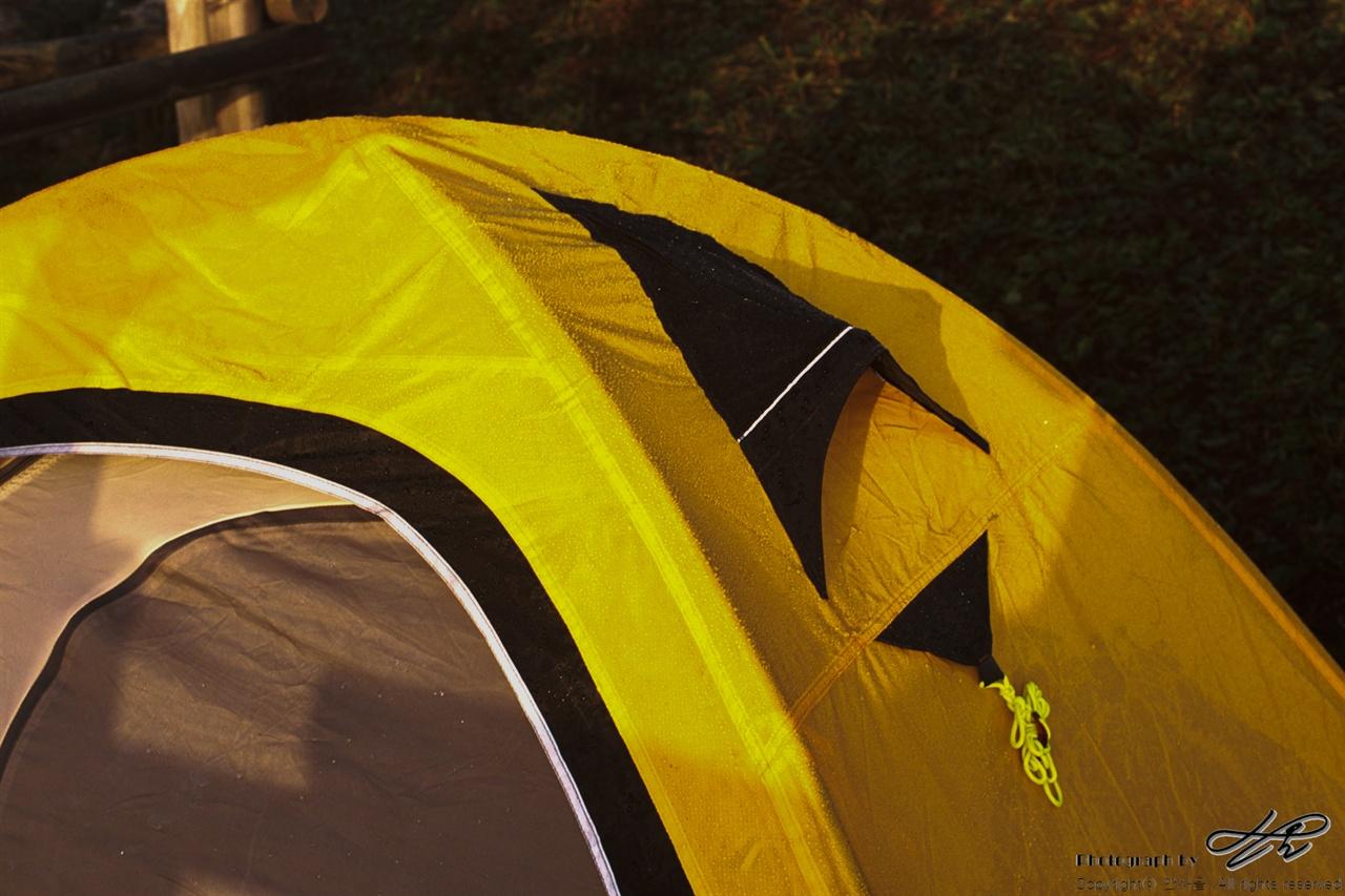 아침이슬 (LX/CT100)이슬이 흠뻑 맺힌 텐트 겉면