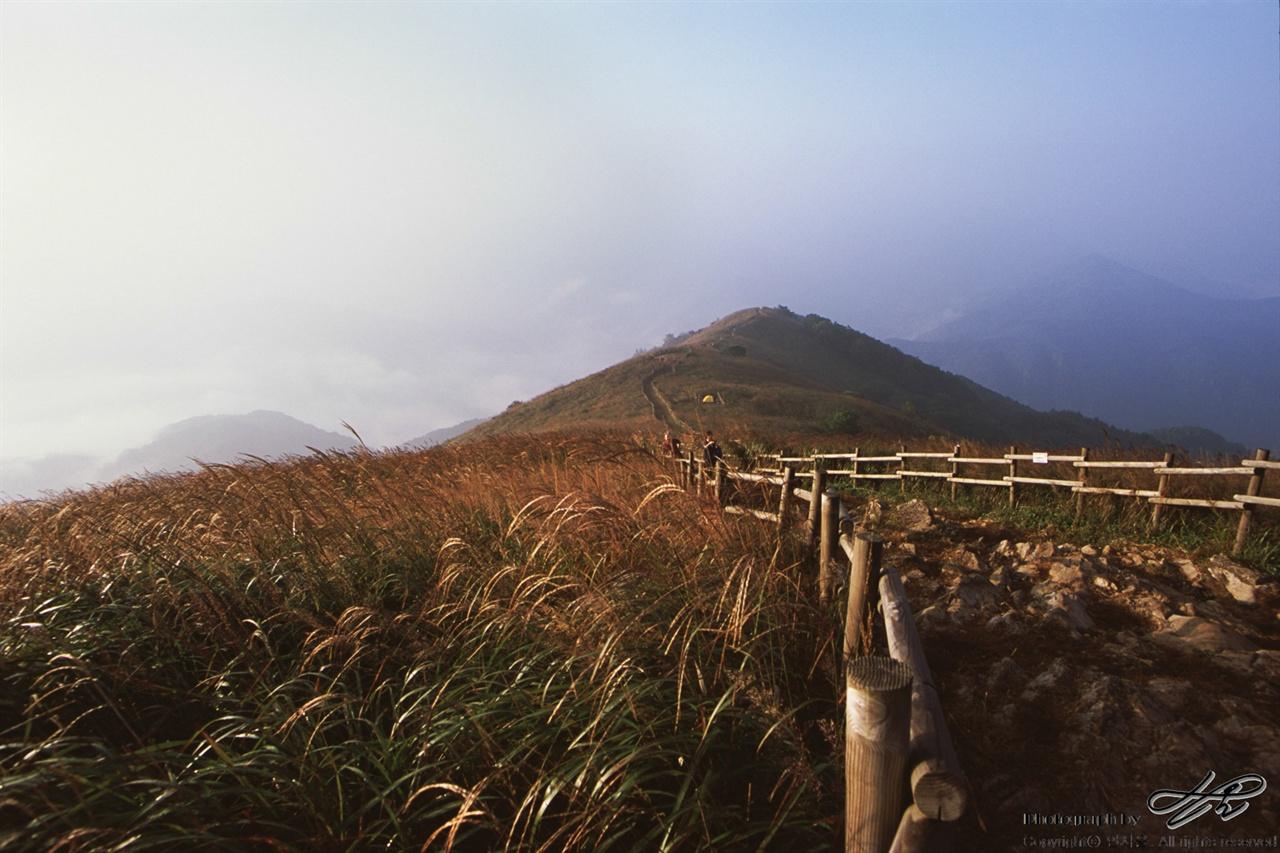 익일 아침 (LX/CT100)아침의 햇빛은 어제의 반대로 들어온다. 대기가 좋지 않아 바로 바로 앞의 산도 거의 보이지 않는다.