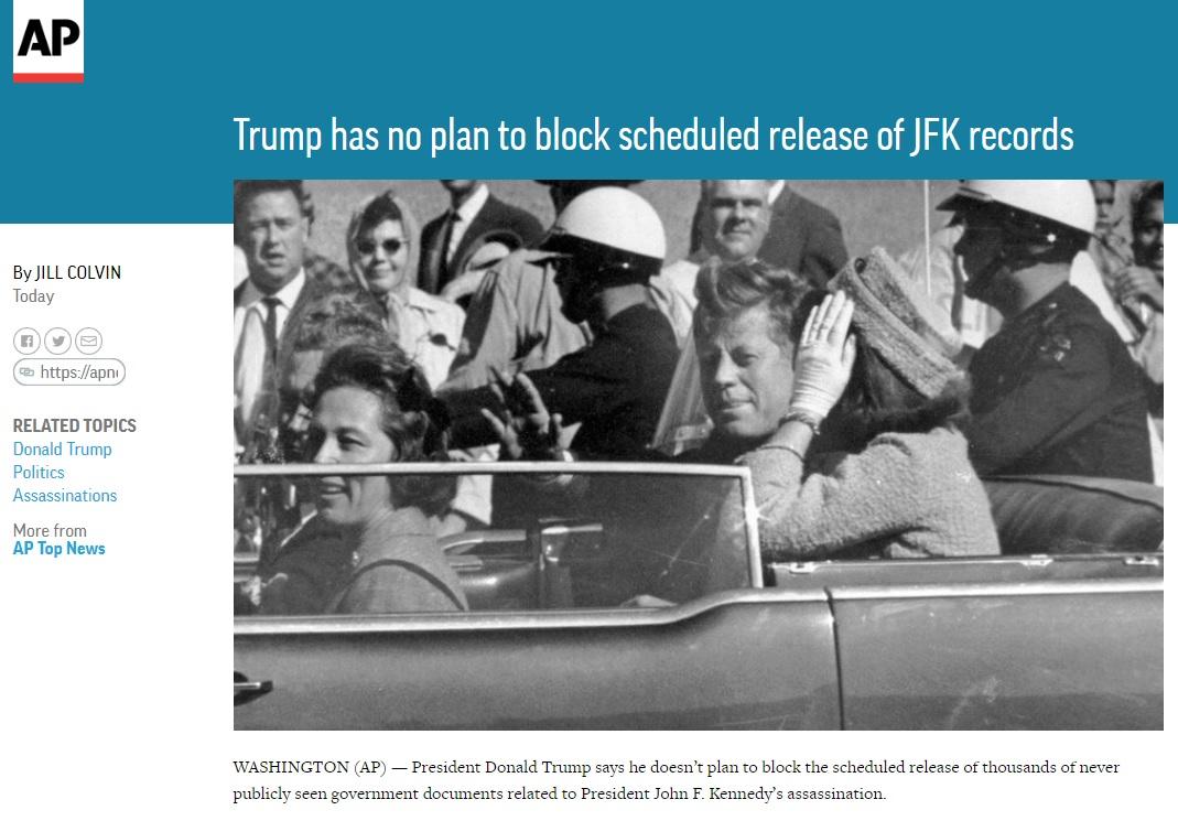 존 F. 케네디 전 대통령의 암살 관련 기밀문서를 공개 결정을 보도하는 AP 뉴스 갈무리.