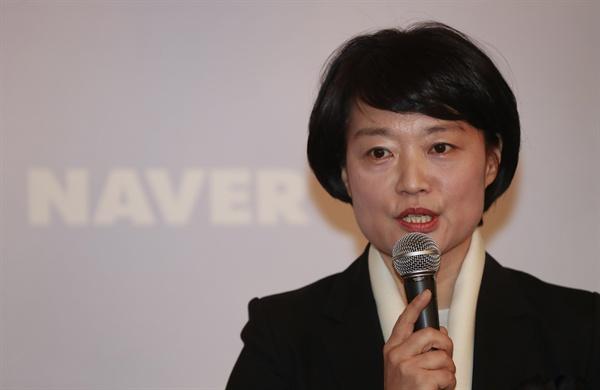 한성숙 네이버 대표. 사진은 지난 3월 28일 서울 명동의 한 식당에서 열린 오찬간담회에서 인사말을 하고 있는 모습.