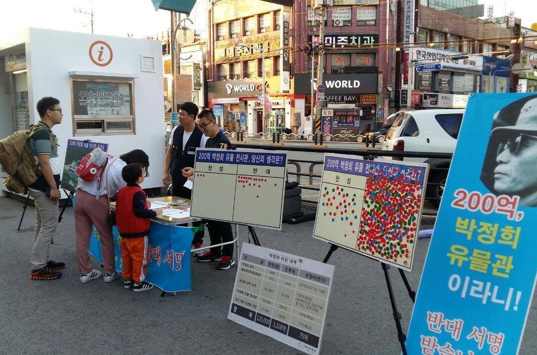 구미참여연대가 시행하고 있는 박정희 유물관 건립 반대서명운동. 구미역전 서명대에서 시민들이 서명에 참여하고 있다.
