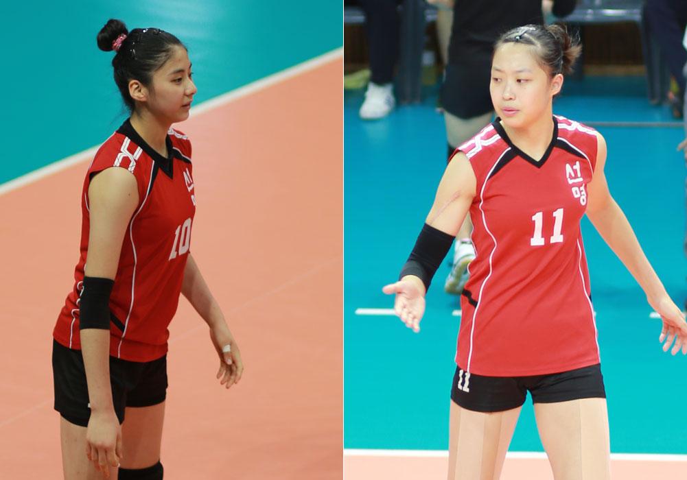 선명여고 박혜민(180cm·왼쪽)과 박은진(188cm) 선수