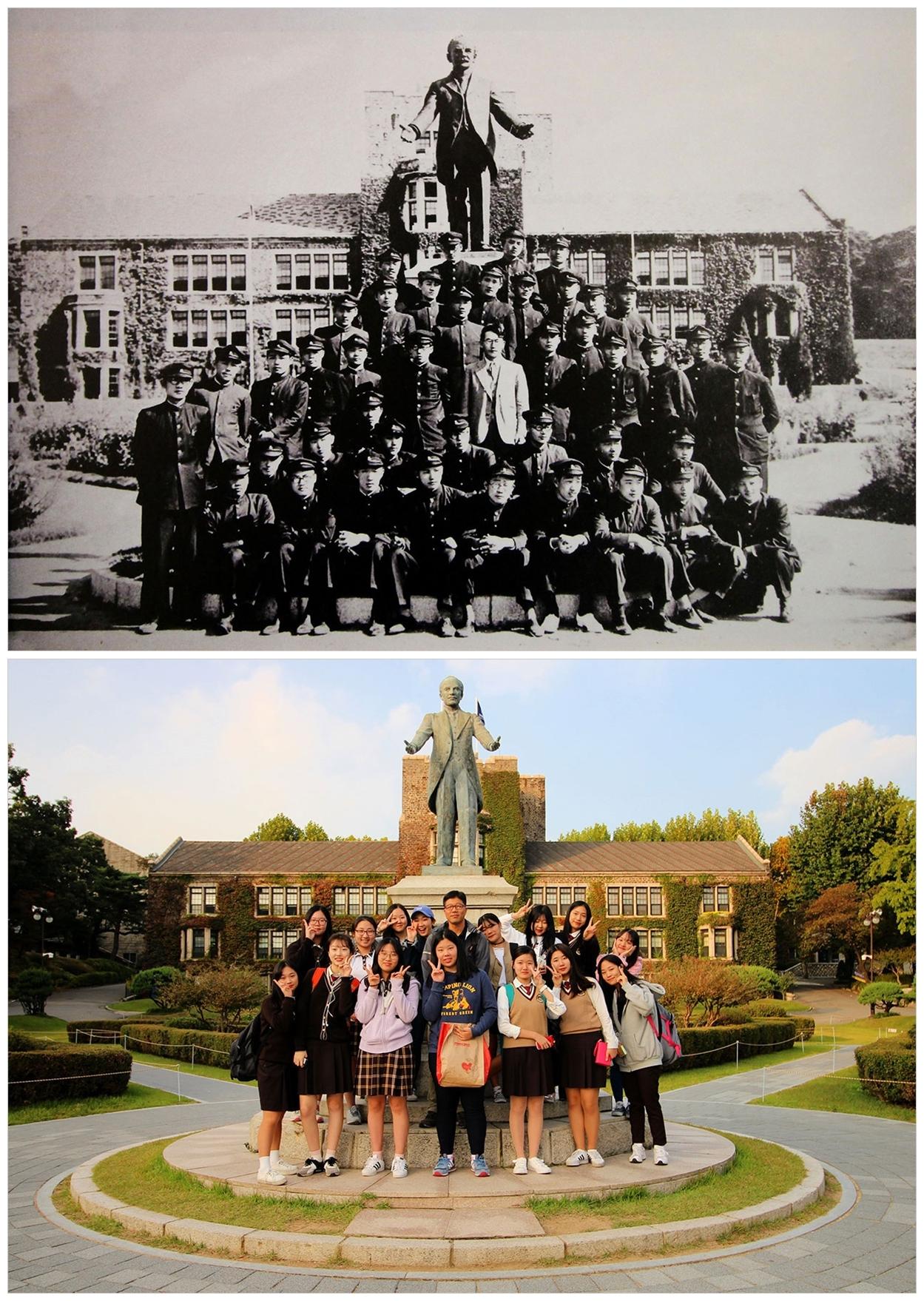 연세대 언더우드 동상 앞에서 윤동주가 이양하 선생과 문과 학생들과 찍은 사진(위)과 저자가 한성여고 학생들과 함께 찍은 사진(아래)
