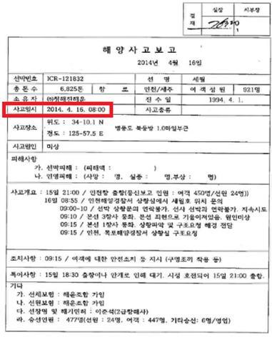 <뉴스타파>가 보도한 한국해운조합 인천지부 사고보고서(2014.06.24.)