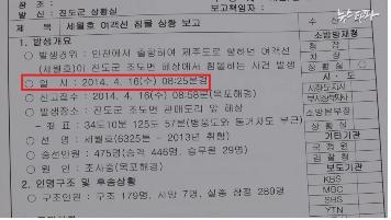 <뉴스타파>가 보도한 진도군 상황실의 상황보고서(2014.04.18.)