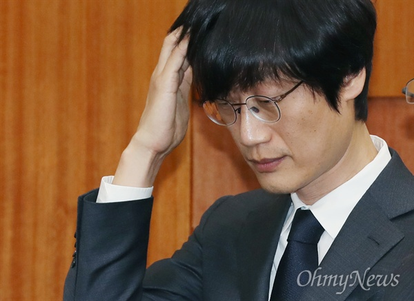 이해진 네이버 창업자 겸 글로벌 투자책임자가 31일 국회에서 열린 정무위원회 종합 국정감사에 증인으로 출석하고 있다.