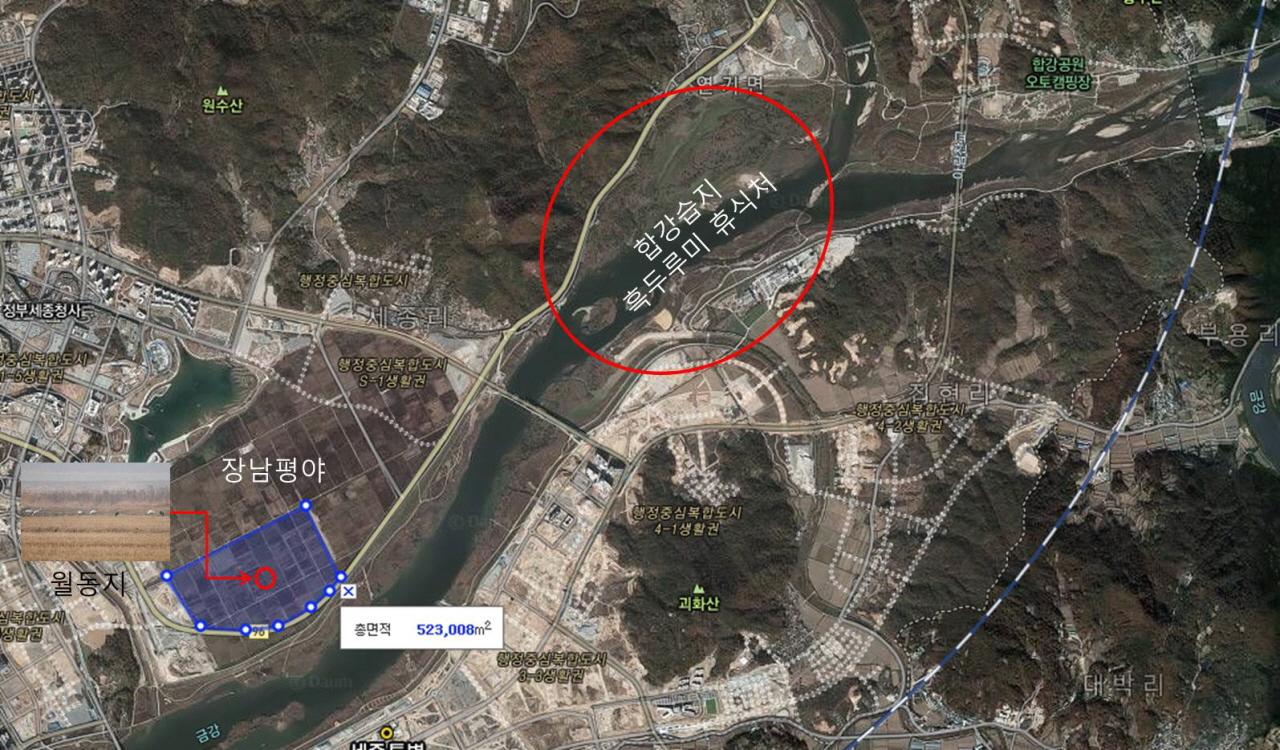 장남평야에 농경지 위치 위편의 호수공원과 파란색을 제외한 부분은 모두 개발되었다.