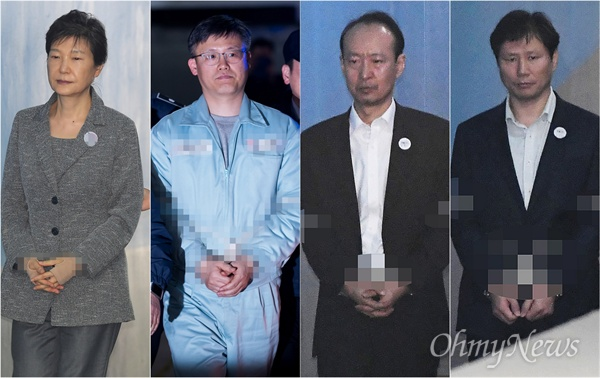 박근혜 전 대통령과 '문고리 3인방' 정호성, 이재만, 안봉근.