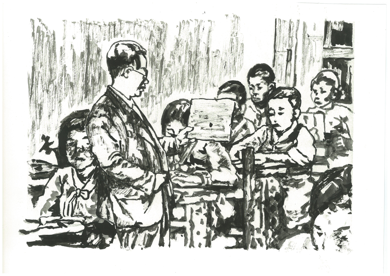 백기완 소장이 경향신문에 연재했던 '하얀 종이배'에 함께 실렸던 신학철 화백의 그림.(일제 치하 때 우리말을 쓴다고 나무라는 선생님)