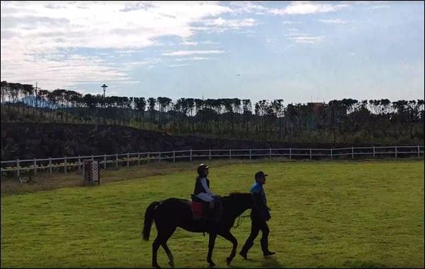 승마장에서 말을 타는 딸. 너무 어려 전문 교육을 받는 대신 체험 승마로 대체하고 있다.