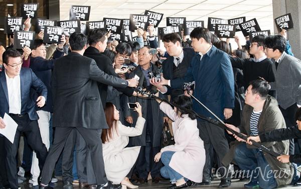 김재철 전 MBC사장이 6일 오전 서울 서초구 서울중앙지검에  피의자 신분으로 조사를 받기 위해 출석하고 있다.