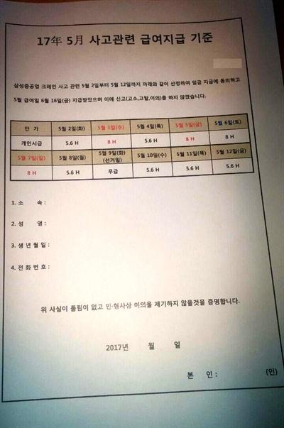 삼성중공업 하청업체의 '5월 사고 관련 급여지급 기준'. 자료.
