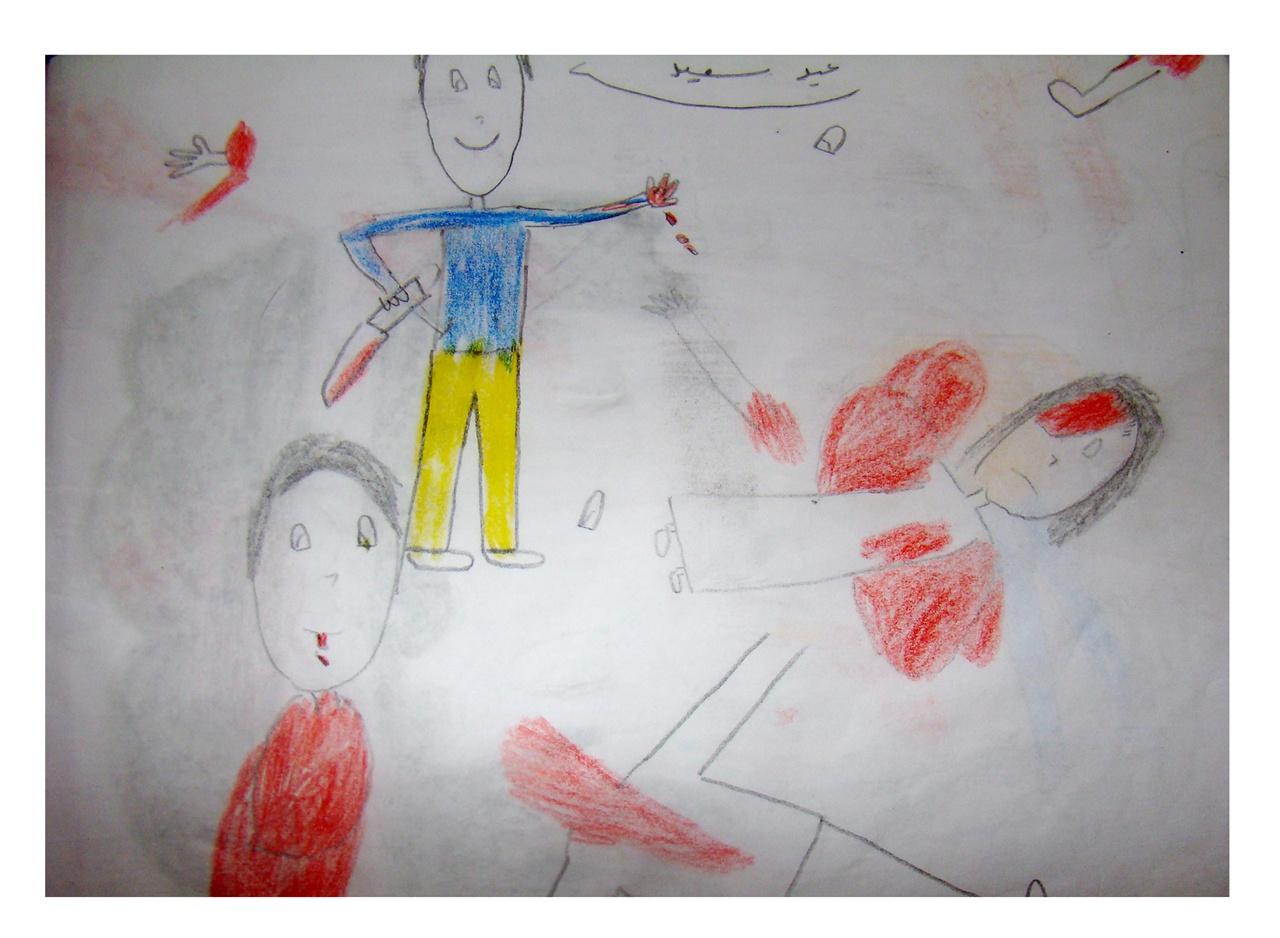 """시리아 난민아동 사진2 """"IS가 우리 마을 사람들을 참수하는 장면을 바로 앞에서 봤어요. IS가 잘 보라고 어린이들을 맨 앞줄에 세웠어요!"""" - 유셉 베흘루(14세)"""
