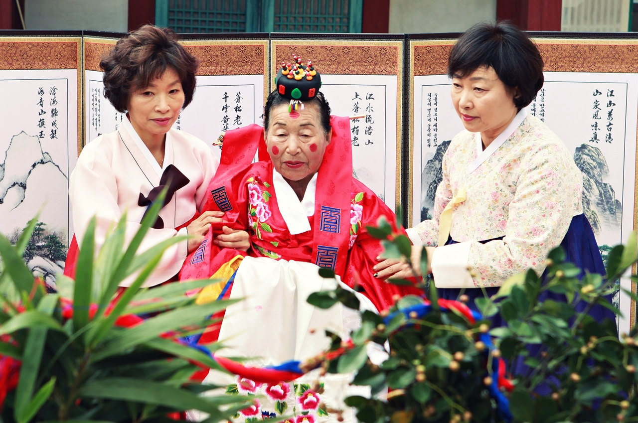 신부 김정분 여사의 모습.