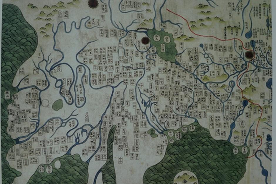 강리도의 서역 부분 1910년 교토대에서 강리도를 모사한 지도 중 일부