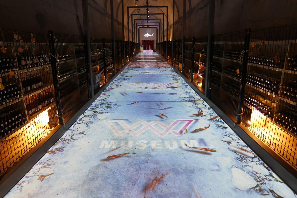 광양와인동굴의 미디어 인터랙티브존. 가상의 호수에서 물고기가 유영을 하고 있다.