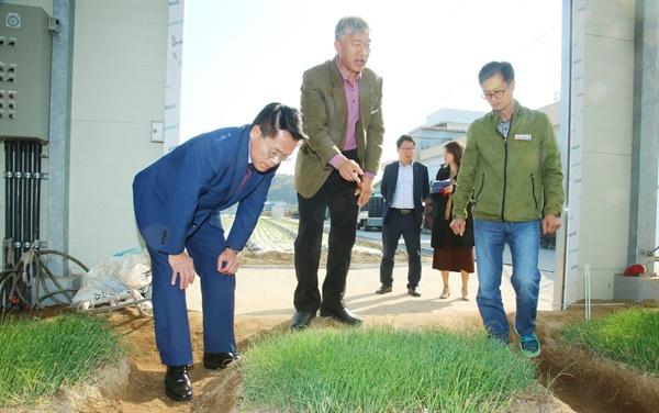 한경호 경남지사 권한대행이 8일 창녕 양파연구소를 방문했다.