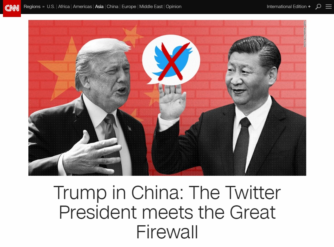 도널드 트럼프 미국 대통령의 중국 내 트위터 사용 논란을 보도하는 CNN 뉴스 갈무리.