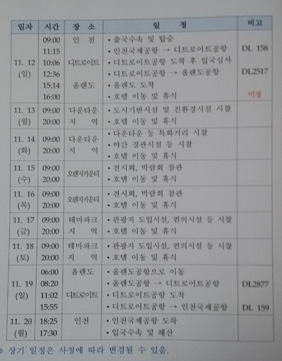 2017년 인천 중구청장 비교시찰 김홍섭 인천 중구청장 2017년 해외 비교시찰 일정