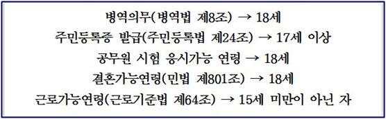 청소년들의 권리와 의무를 나타내는 표 한국의 청소년들은 18세에 병역의무는 물론 결혼, 공무원시험 응시가 가능하나 투표권은 주어지지 않고 있다.