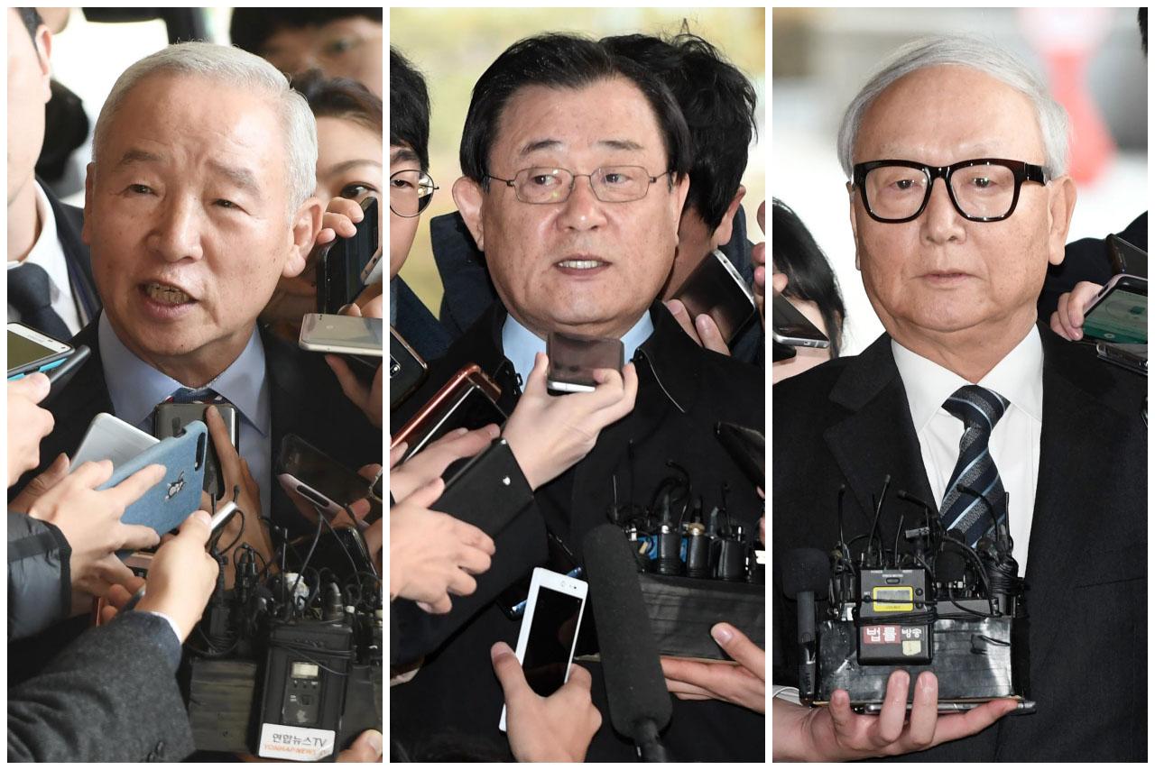 박근혜 정부 당시 청와대에 국가정보원 특수활동비를 정기적으로 상납했다는 의혹을 받고 있는 남재준, 이병기, 이병호 전 국정원장들이 (왼쪽부터) 지난 8일을 시작으로 줄줄이 서울중앙지방검찰청에 소환되어 조사를 받았다.2017.11.13