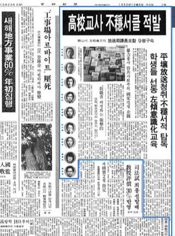 1982년12월8일자 경향신문기사 군산제일고 교사들이 불온서클을 구성한 것이 적발되었다는 기사. 본래 9명의 교사가 입건되었다.