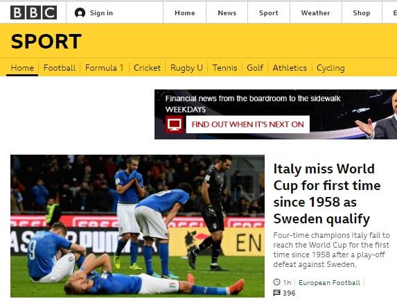 이탈리아의 월드컵 본선행 좌절 소식을 전하는 BBC
