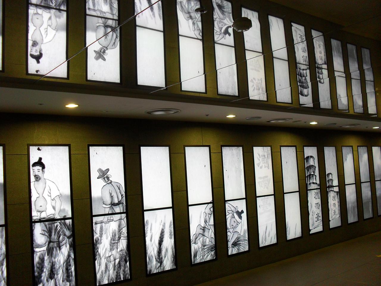 농사짓는 사람들. 서울시 광화문광장 지하의 '세종 이야기'에서 찍은 사진.