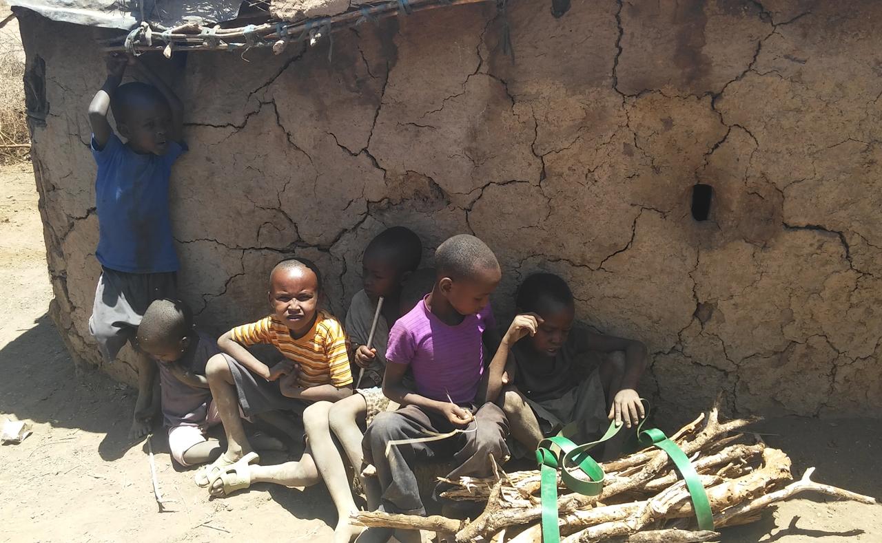 마사이족의 천장 낮은 집의 벽에 기대 앉아 있는 마사이족 아이들.