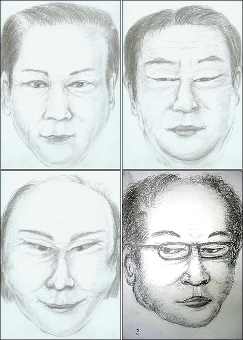 고 심진구가 그린 고문 수사관들의 몽타주 그림