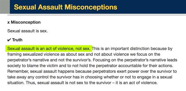 미시건대학교의 강간예방센터 웹사이트. '성폭행은 섹스가 아니라 폭행'이라는 점을 명백히 하고 있다.