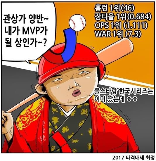 MVP급 활약을 펼친 SK 최정(출처: [KBO 야매카툰] 양현종 웃고 최정 우는 'MVP 관상' 중)