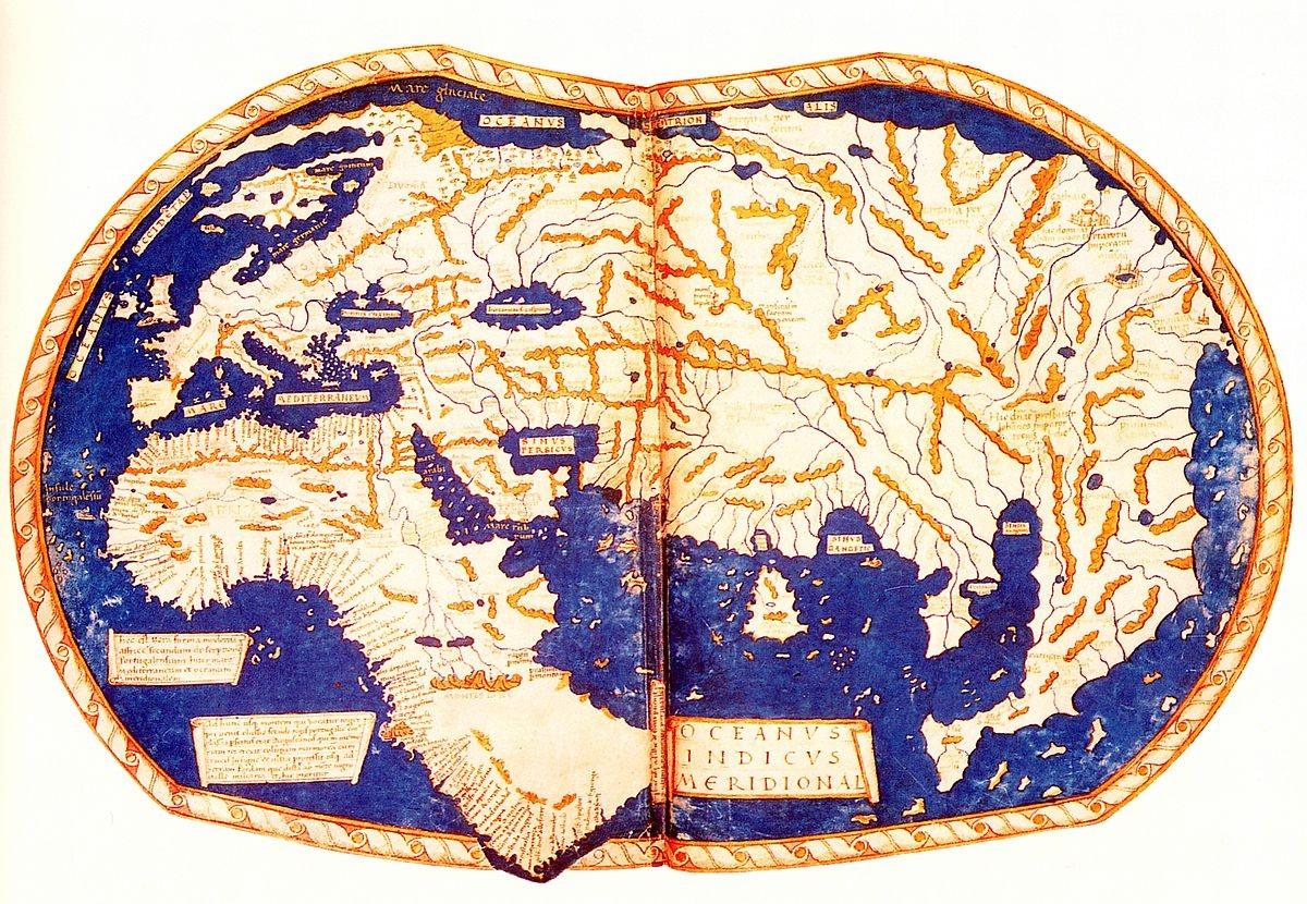 마르텔루스 세계지도 포르투갈 항해 기록