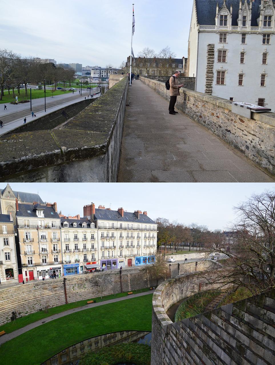 낭트 성 성벽 돌계단을 통해 성벽에 올라서면 성벽 길을 따라 한 바퀴 답사를 할 수 있다.