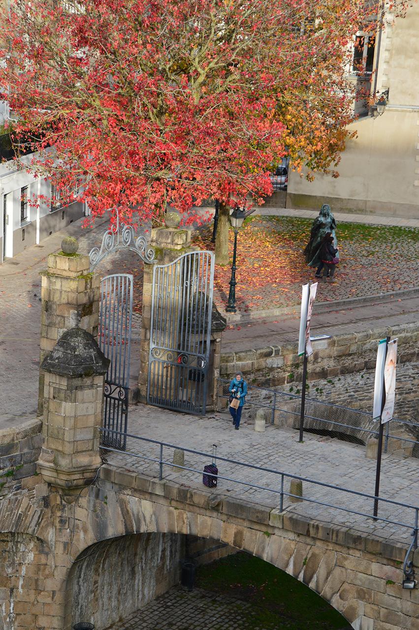 낭트성 단풍 낭트 성 성벽 아래에는 중세의 건축물들과 함께 붉은 단풍을 볼 수 있다.