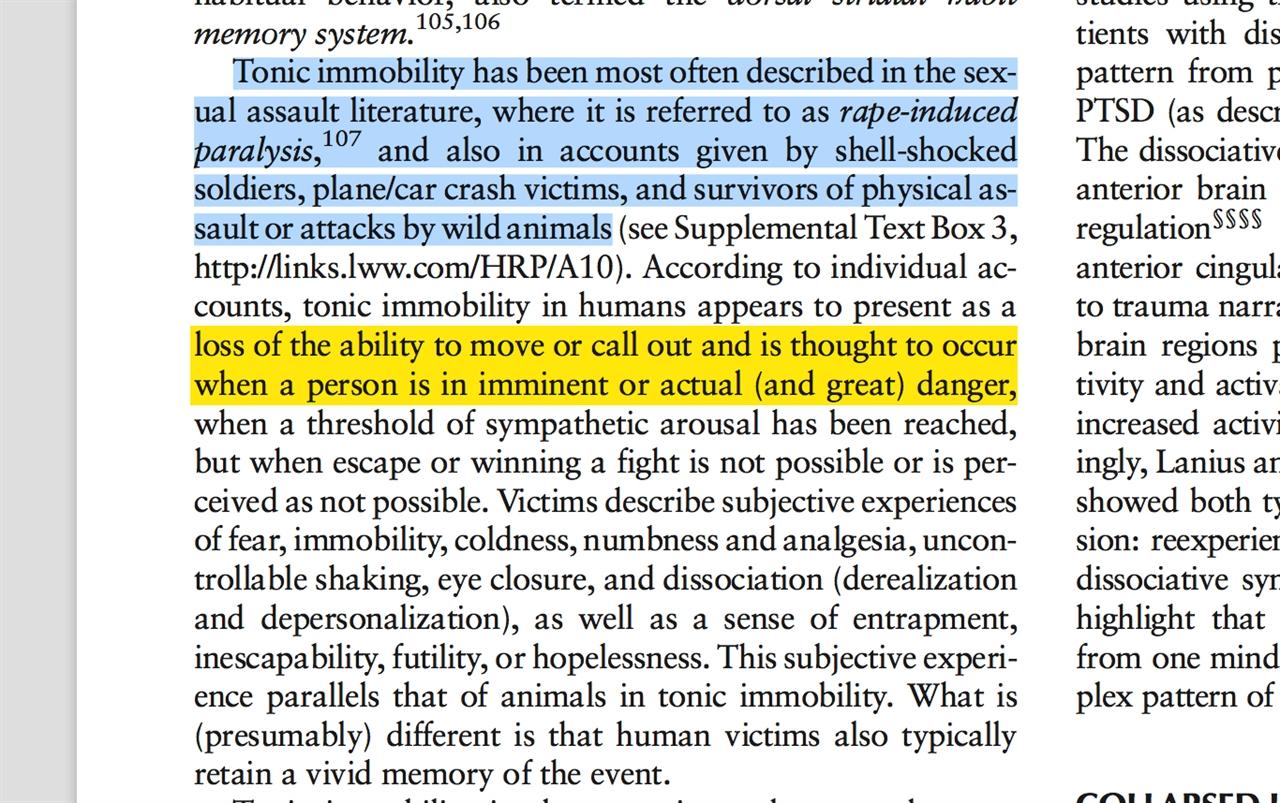 <하버드 정신의학 리뷰>에 실린 논문. 성폭행 피해자들이 받는 정신적 충격은 전쟁에서 기습공격을 받거나 비행기 추락사고를 겪은 사람들과 유사하다고 설명한다. 그 결과 피해자는 달아나거나 소리칠 능력조차 상실하게 된다.