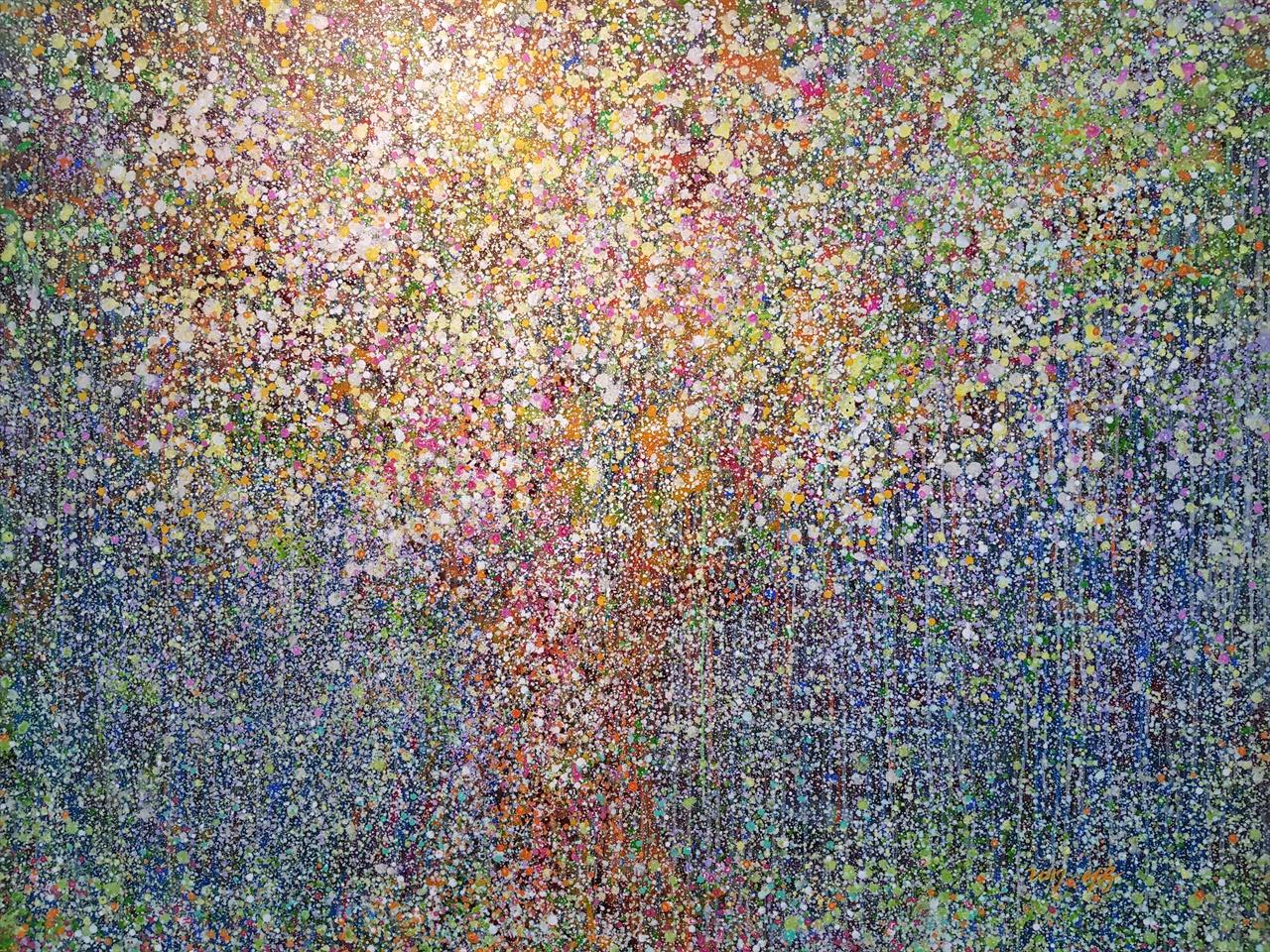 숲(304그루 중첩).  김은숙.  천에 아크릴.  150 x 120cm.  2017