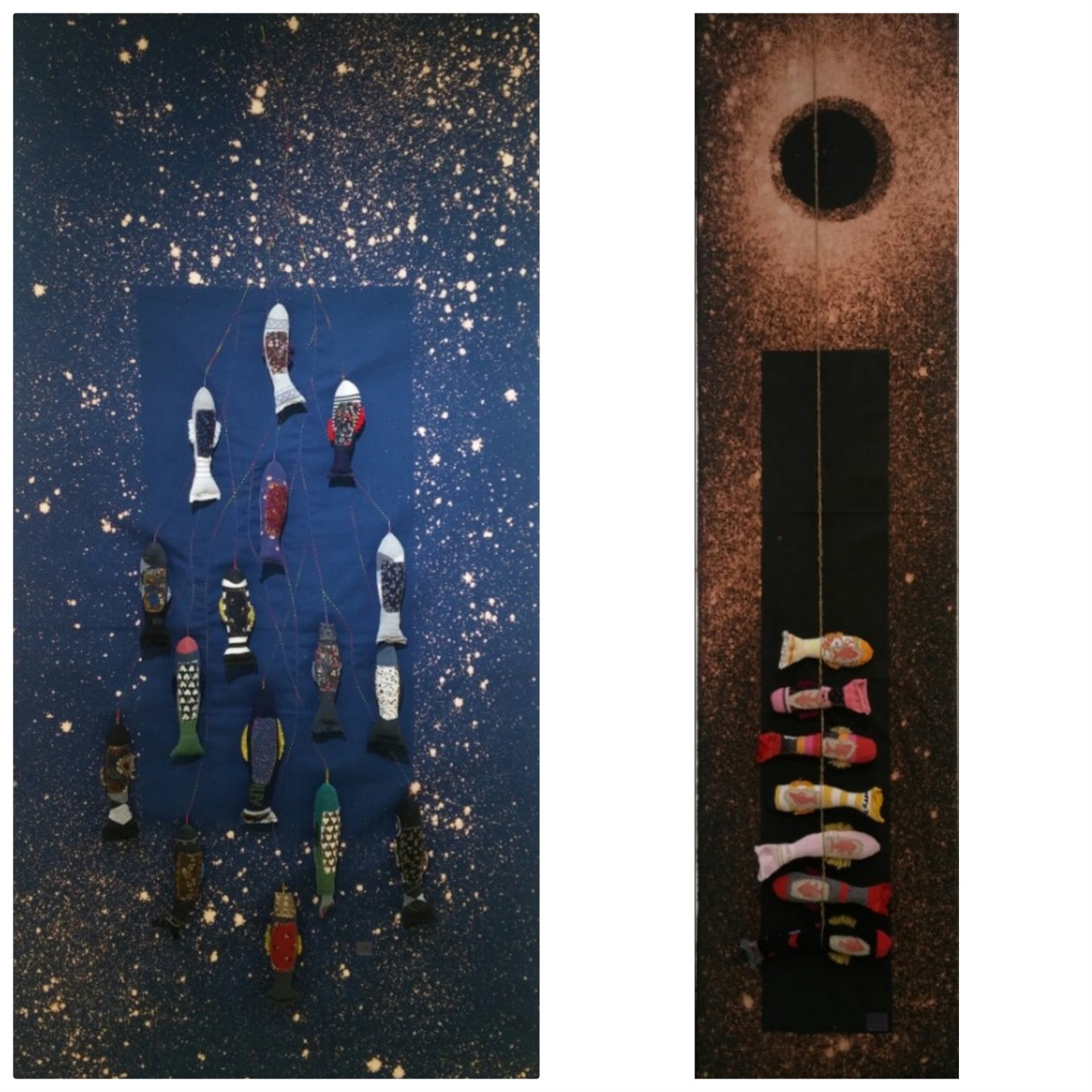 좌: 생...구름에 달 가듯.  장순일.  패브릭(혼합재료). 43 x 183 cm