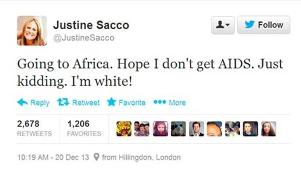 저스틴 사코가 남아공행 비행기에 탑승하기 전 날린 트윗. 그녀의 트윗이 전세계로 퍼져 나가며 많은 비난을 받았다.