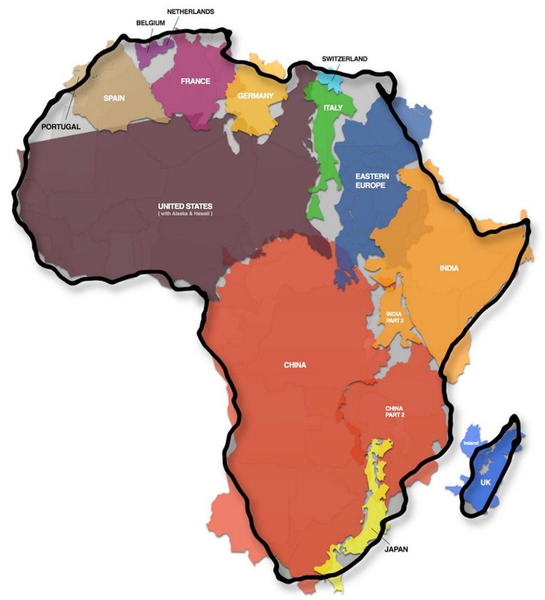 아프리카 크기 아프리카 실제 크기