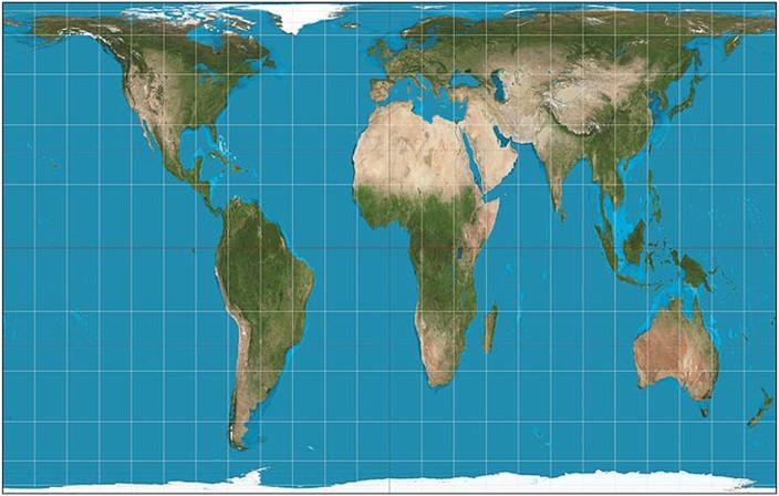 골-피터 세계지도 골-피터 투영도법에 의한 지도