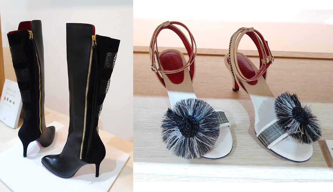 (좌) 말총레이스 롱부츠, (우) 말총태슬 샌들 말총 공예 장인의 기술과 디자이너의 세련미가 결합된 신발