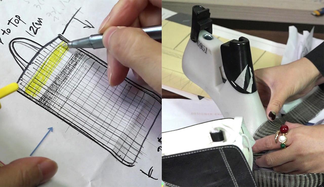 디자이너들의 스케치와 상품개발 과정 디자이너들이 말총 가방을 스케치하고 말총 신발을 고안하는 장면