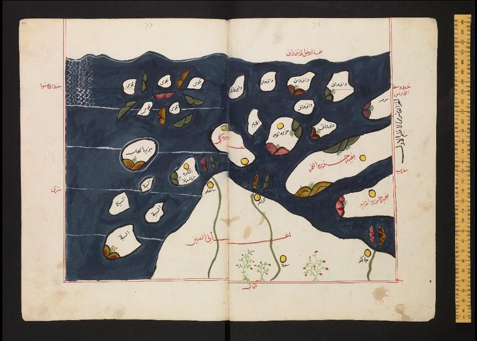 이드리시 지도 신라가 섬으로 그려짐. 위가 남쪽, 아래가 북쪽