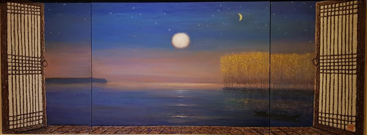 두시영.  '신새벽' - 남한강 아리랑.  110x 41 cm.  캔버스에 아크릴
