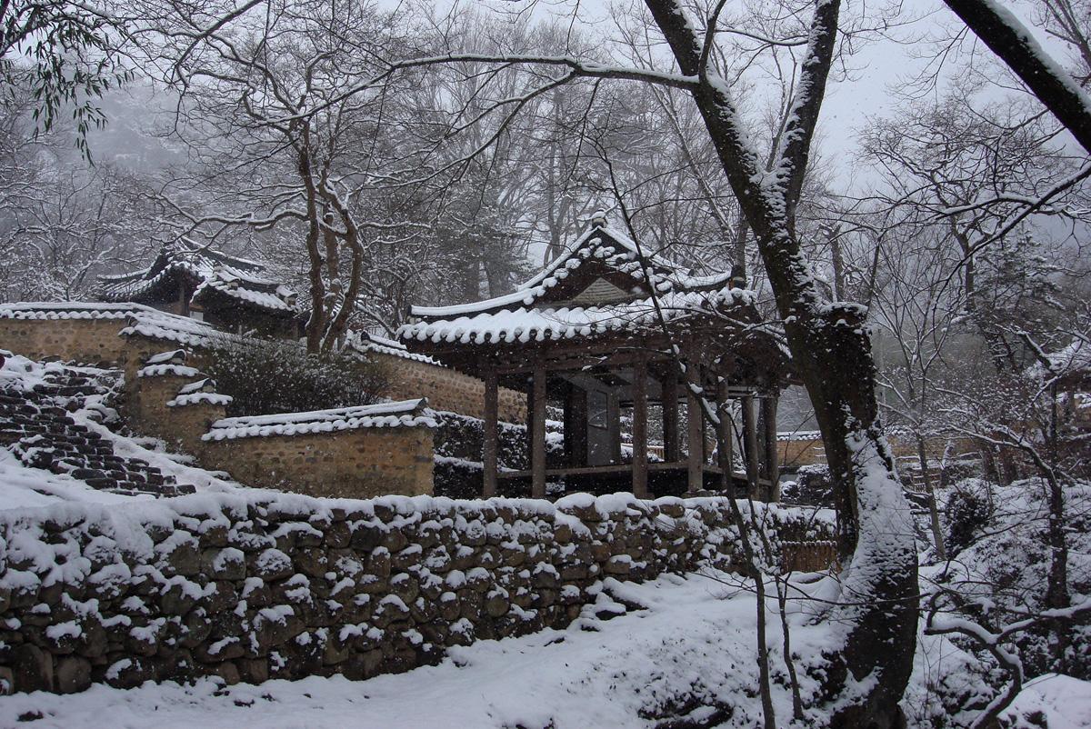겨울날 눈 내린 소쇄원 풍경. 아름다운 원림이 하얗게 덮여 선경을 연출하고 있다.