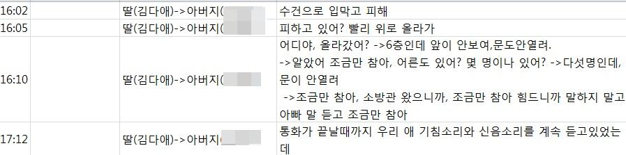 고 김다애(18)학생과 아빠 김 모씨와의  통화내용