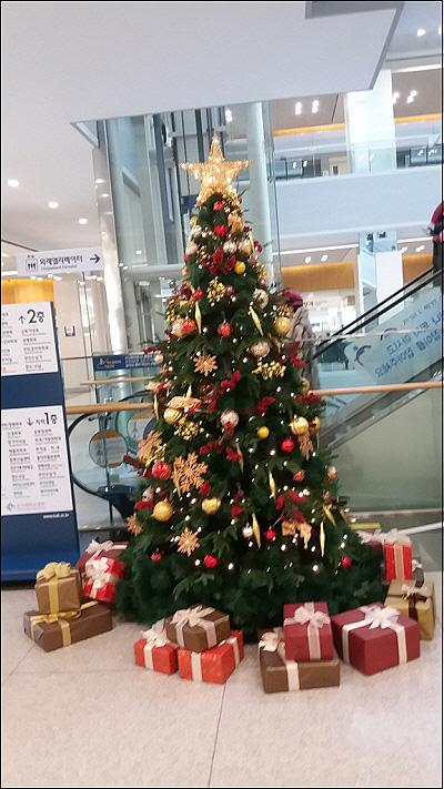 병원 로비의 크리스마스 트리