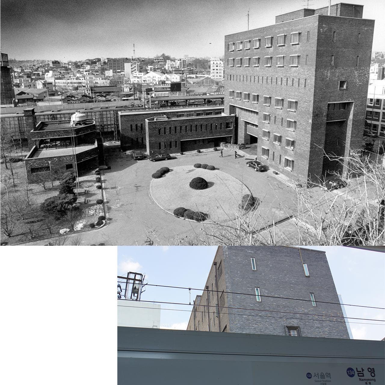 1990년대 남영동 대공분실 전경. 지금은 경찰청 인권센터로 바뀌었다. 아래 사진은 지하철 1호선 남영역에서 바라본 모습
