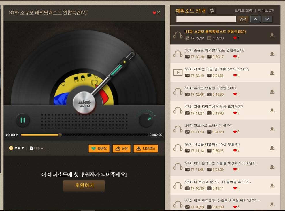 <소규모 해외팟캐스트 연합특집> 방송 화면 페이지